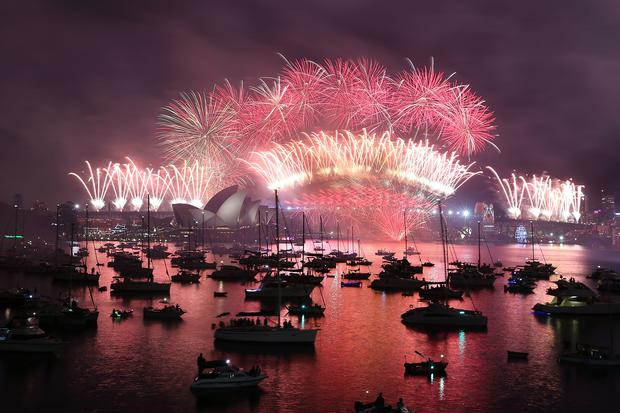 sydney australia january 01 the fireworks at mrs macquaries chair on new years