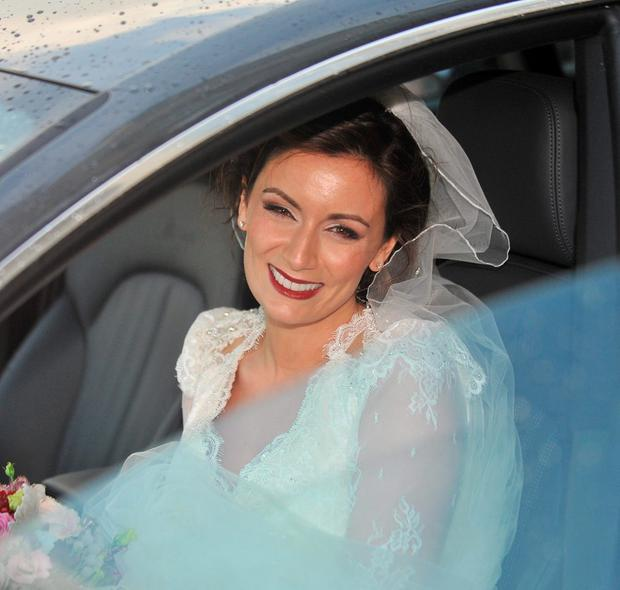 New Year's Eve Bliss forToday FM Presenter Louise Duffy at St Tiernan's Church Crossmolina Mayo where she married Kerry Footballer Paul Galvin yestersday. Pic Conor McKeown