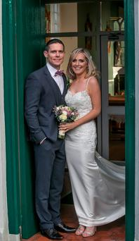 31/12/2015: Stephen Cluxton and his new wife Joanne O'Connor after getting married in Killenard. Photo: Pat Moore.