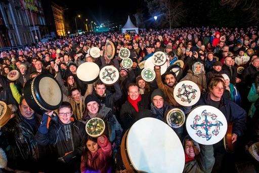 The NYF Bodhran Session World Record attempt at St Stephen's Green, part of the New Years Festival in Dublin. nyf.com running from 30th Dec to 1st Jan in Dublin. Picture: Arthur Carron