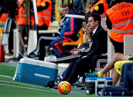 Gary Neville's Valencia are still looking for their first La Liga win under their new coach. Photo: Jose Jordan/AFP/Getty Images