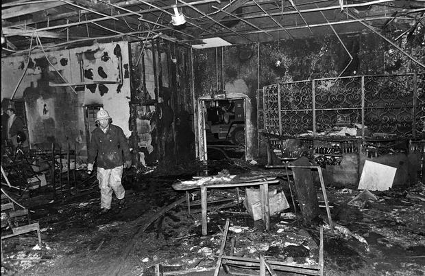 The interior of the Stardust after the fire in the early hours of St Valentine's Day, 1981 Photo: Independent Newspapers