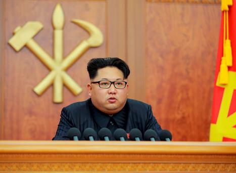 North Korean leader Kim Jong Un gives a New Year's address for 2016 in Pyongyang. Reuters/Kyodo