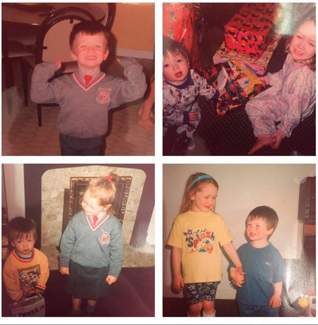 A post on Michael Bugler's sister's Facebook page, showing Michael and Laura growing up