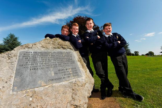 Cistercian pupils Conor Power, Lorcan McDonnell, Jack Gilligan and Luke Garry