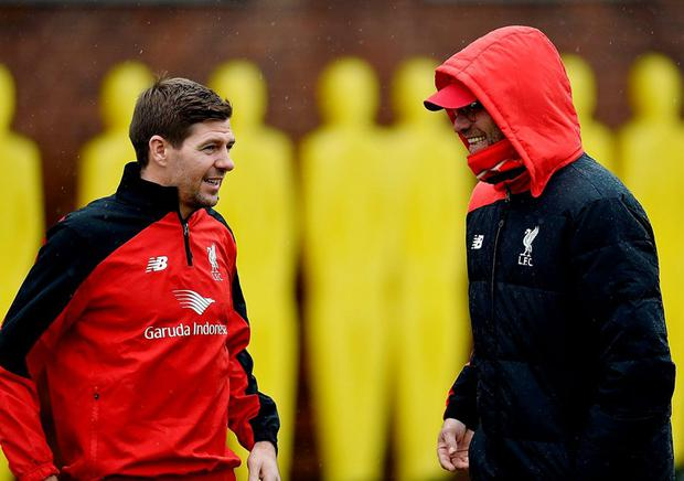Steven Gerrard was back training at Melwood in November as a guest of Liverpool boss Jurgen Klopp. Photo: Andrew Powell/Liverpool FC via Getty Images