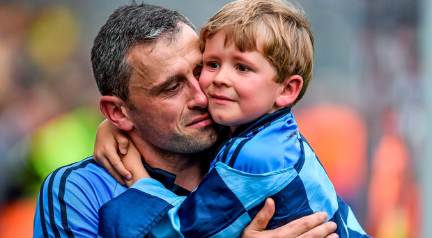 Alan Brogan and his son Jamie after their shock semi-final defeat to Donegal in 2014