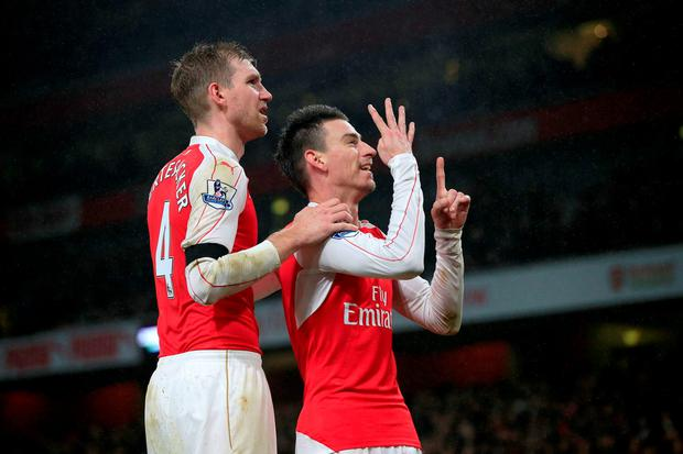 Arsenal's Laurent Koscielny celebrates