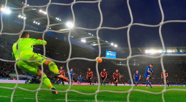 Artur Boruc of Bournemouth saves a penalty from Riyad Mahrez