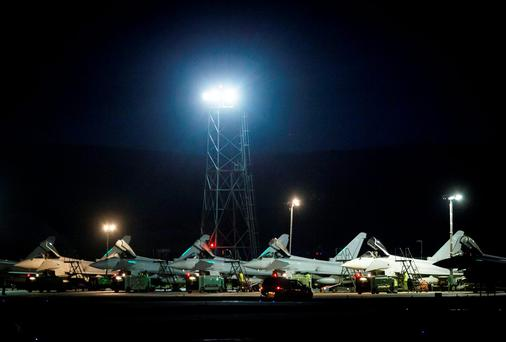 Eurofighter Typhoon jets at from RAF Lossiemouth in Scotland, as RAF Tornado jets carry out the first British bombing runs over Syria. Photo: Danny Lawson/PA Wire