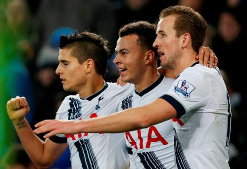 Dele Alli celebrates with team mates after scoring the first goal for Tottenham Reuters / Andrew Yates