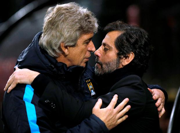 Manuel Pellegrini and Flores. Photo: Getty