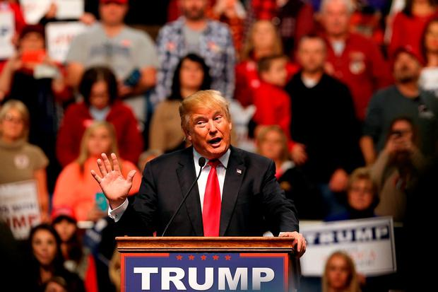Republican presidential frontrunner Donald Trump speaks at the Mississippi Coast Coliseum in Biloxi, Mississippi. Photo: Getty