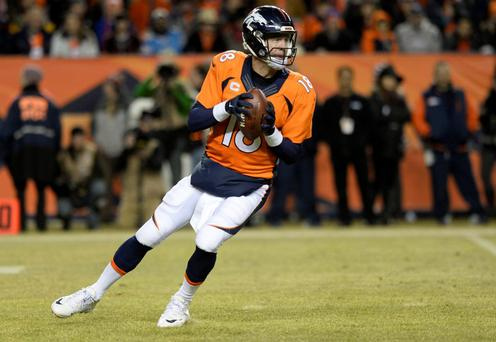 Denver Broncos quarterback Peyton Manning (18) drops back to pass the football in the fourth quarter against the San Diego Chargers at Sports Authority Field at Mile High. Mandatory Credit: Ron Chenoy-USA TODAY Sports