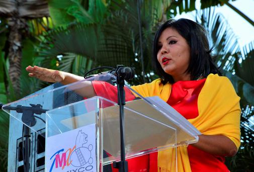 Gisela Mota, new mayor of Temixco takes her oath of office during a swearing-in ceremony in Temixco, south of Mexico City on January 1, 2016. Mota, the newly installed mayor of the Mexican city of Temixco was killed on January 2, 2016, according to a tweet from Morelos state Governor Graco Ramire