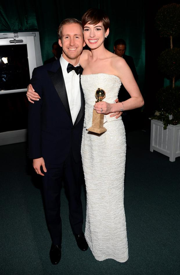 Anne Hathaway and Adam Shulman attend the NBCUniversal Golden Globes viewing and after party held at The Beverly Hilton Hotel on January 13, 2013 in Beverly Hills, California. (Photo by Jason Kempin/Getty Images for NBCUniversal)