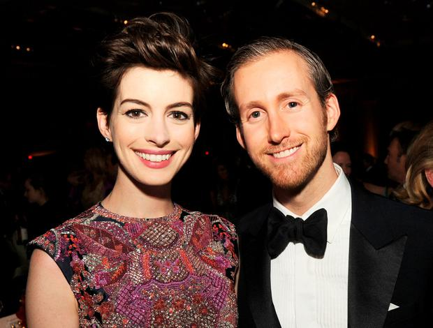 Actress Anne Hathaway (L) and actor Adam Shulman attend the 65th Annual Directors Guild Of America Awards at Ray Dolby Ballroom at Hollywood & Highland on February 2, 2013 in Los Angeles, California. (Photo by Kevin Winter/Getty Images)