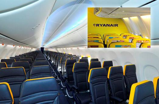 Ryanair's new look interior, as tweeted this weekend. Inset is the old interior, with the airline's infamous yellow colour scheme. Photo: Ryanair/Twitter