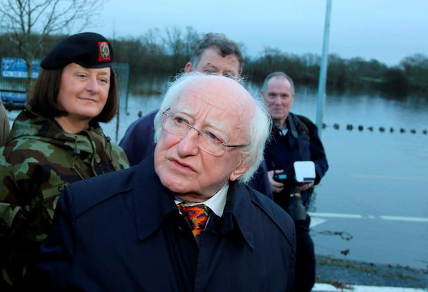 President Michael D Higgins visited flood stricken areas of South Galway and met with flood-affected families. Picture: Hany Marzouk