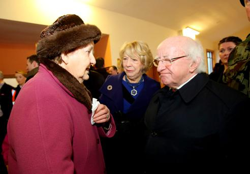 President Michael D Higgins affected by the story of Noreen Flaherty (84) from Hawhill, Gort who was forced to leave her home after she was surrounded by floods last week. Picture: Hany Marzouk
