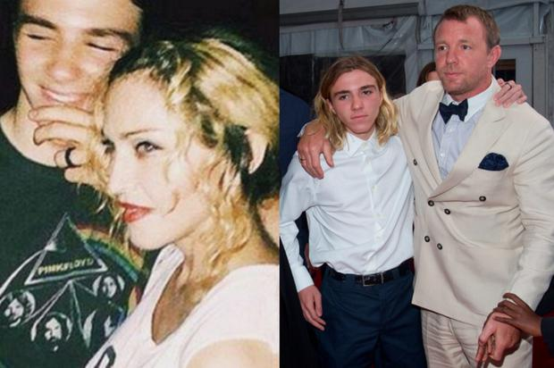 Madonna and Rocco (left) and with his father Guy Ritchie (right)
