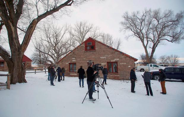 Members of the media tour the Malheur National Wildlife Refuge near Burns, Oregon