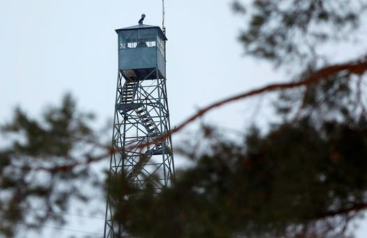 A watch tower is manned at the Malheur National Wildlife Refuge near Burns, Oregon