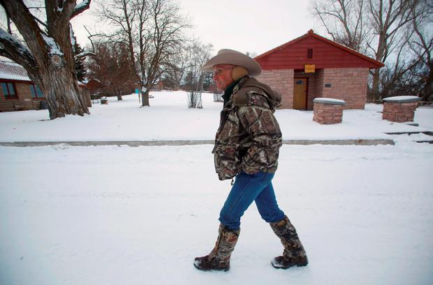 Arizona cattle rancher LaVoy Finicum leads a tour through the Malheur National Wildlife Refuge near Burns, Oregon