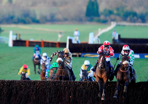 Mountainous and Paul Moloney (far right) jump the last fence on the way to winning the 2013 Welsh Grand National – the horse returns to Chepstow on Saturdaycasts. Photo: Alan Crowhurst/Getty Images