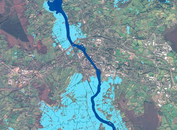 Athlone: Satellite shots show flooding around rivers. Dark blue shows the river banks, while lighter blue areas show flooded areas.