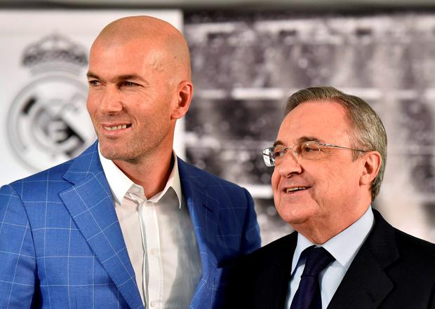 Zinedine Zidane with Real president Florentino Perez at his unveiling. Photo: Gerard Julien/Getty Images