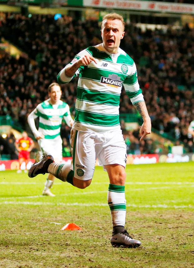 Celtic's Leigh Griffiths celebrates at the weekend after scoring his sides first goal. Photo: Danny Lawson/PA.