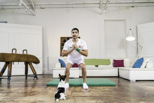 Olympian Louis Smith exercises with a Jack Russell as he films the world's first celebrity workout video for man and dog. 'Petsercise with Louis Smith' was created by More Than insurance and Wagglepets