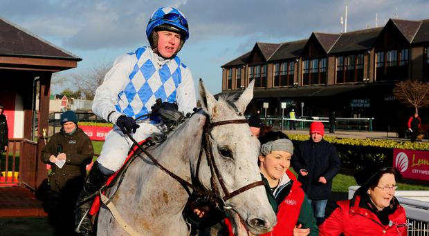 Declan Queally is led in on Portrait King after winning last year's Conyngham Cup – the Welsh National is Saturday's target. Photo: Alain Barr.