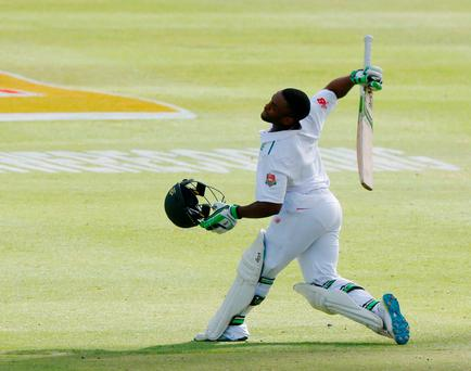 South Africa's Temba Bavuma celebrates scoring a century against England in Cape Town, South Africa. Photo: Reutres/Mike Hutchings