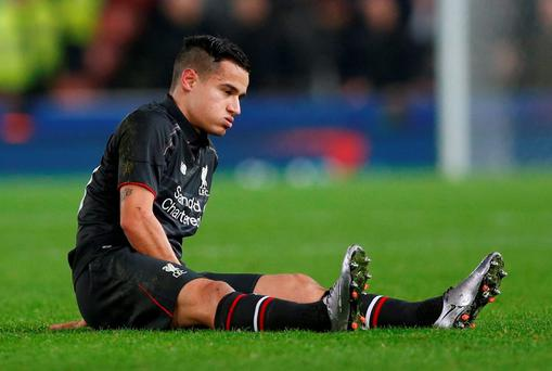Liverpool's Philippe Coutinho reacts after sustaining an injury before being substituted Action Images via Reuters / Carl Recine