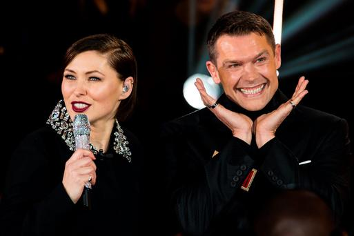 BOREHAMWOOD, ENGLAND - JANUARY 05: (L-R) Emma Willis talks to John Partridge as he enters the Celebrity Big Brother House at Elstree Studios on January 5, 2016 in Borehamwood, England. (Photo by Jeff Spicer/Getty Images)