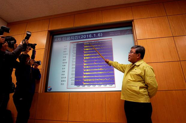 Ko Yun-hwa, The Korea Meteorological Administration Administrator briefs seismic waves that were measured in South Korean cities, at the Korea Meteorological Administration center on January 6, 2016 in Seoul, South Korea