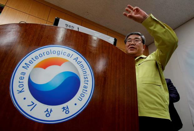 Ko Yun-hwa, The Korea Meteorological Administration Administrator briefs seismic waves that were measured in South Korean cities, at the Korea Meteorological Administration center on January 6, 2016 in Seoul, South Korea. North Korea confirmed it has conducted a hydrogen bomb test after South Korea's Metrological Administration detected an 'artificial earthquake' near Punggye-ri, North Korea's main nuclear testing site on January 6, 2015