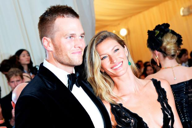 Tom Brady (L) and Gisele Bundchen attend the