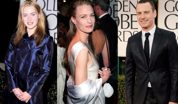 Kate Winslet in 1996, Robin Wright in 1995 and Michael Fassbender in 2012 at the Golden Globes