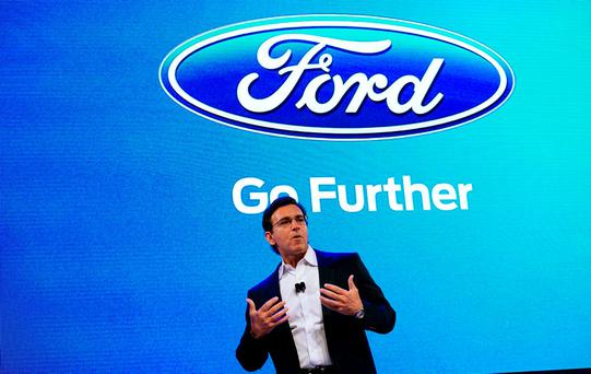 Ford Motor Co CEO Mark Fields speaks at the Ford press conference at the Consumer Electronics Show in Las Vegas