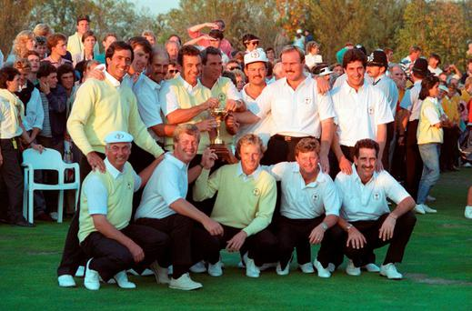 The European team retained the Ryder Cup at the Belfry golf course after the 1989 match ended in a 14-14 tie with the United States team. From left. Back row: Seve Ballesteros, Nick Faldo, Mark James, Tony Jacklin (captain), Jose-Maria Canizares, Gordon Brand Jnr, Ronan Rafferty and Jose-Maria Olazabal. Front row: Christy O'Connor Jnr, Howard Clark, Bernhard Langer, Ian Woosnam and Sam Torrance.