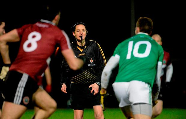 Maggie Farrelly making history as she becomes the first female referee to officiate a senior mens inter-county game. Bank of Ireland Dr. McKenna Cup, Group B, Round 1, Fermanagh v St Mary's University College, Tyrone Centre of Excellence, Garvaghey, Co. Tyrone. Picture credit: Oliver McVeigh / SPORTSFILE