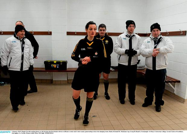 6 January 2015; Maggie Farrelly making history as she becomes the first female referee to officiate a senior mens inter-county gamewaiting to leave the changing rooms. Bank of Ireland Dr. McKenna Cup, Group B, Round 1, Fermanagh v St Mary's University College, Tyrone Centre of Excellence, Garvaghey, Co. Tyrone. Picture credit: Oliver McVeigh / SPORTSFILE