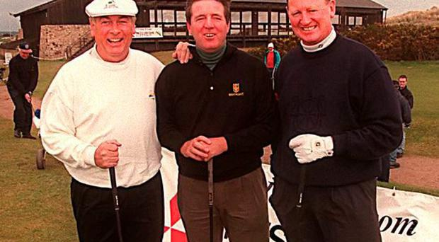 The late Christy O'Connor Junior with Des Smyth and Eamonn Darcy at Seapoint Golf Club