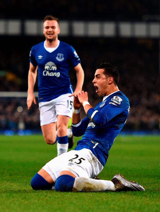 Everton's Ramiro Funes Mori celebrates scoring the opening goal during the match against Manchester City. Photo: Laurence Griffiths/Getty Images