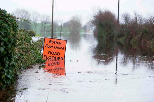 Flood waters in Cahermore near Kinvara Co. Galway. Photo: Andrew Downes