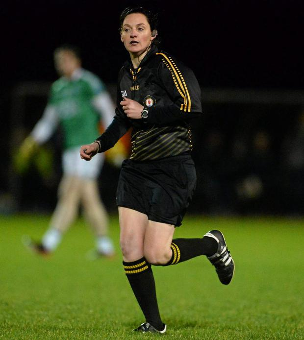Maggie Farrelly making history as she becomes the first female referee to officiate a senior mens inter-county game. Photo: Oliver McVeigh / SPORTSFILE