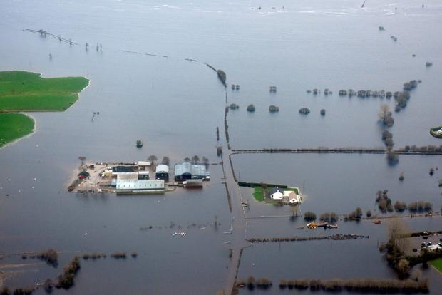 Images captured by Air Corps personnel of areas flooded in Galway Credit: Defense forces